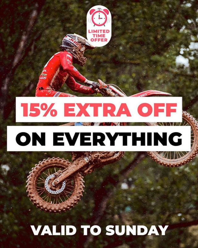 """🔥15% EXTRA OFF EVERYTHING 𝘞𝘩𝘦𝘯 𝘺𝘰𝘶 𝘣𝘶𝘺 𝘧𝘰𝘳 𝘢𝘵 𝘭𝘦𝘢𝘴𝘵 100€🔥 So what's on your wish list? #24mx  #deal  *valid until Sunday 29th  *exclude shipping costs  * does not apply to products that are marked """"super price """", race tents, exhaust system, tyers & rims"""