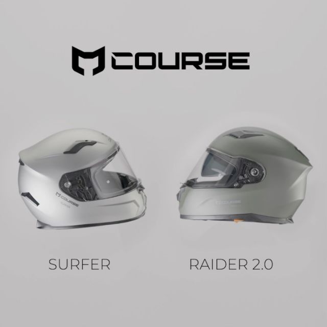 🔻Course Surfer & Course Raider ◼️  The Course Surfer is a new, affordable full-face helmet. Features include a quick-release, Pinlock prepared visor and air intakes at the front and up top to regulate temperature and keep you cool and comfortable.  The helmet lining is fully removable so that you can either wash it or replace it when you need to. You also get a helmet bag to protect it during transport and storage. For a reliable, no-frills helmet, this is a good pick!  Features: • Polycarbonate shell • Pinlock prepared • Quick-release visor • Smoke visor available • Removable and washable liner • Micrometric buckle • Helmet bag included • Weight 1500 ± 50g • ECE 22.05 approved  The Course Raider 2.0 is a new full-face helmet available in two different shell sizes and several nice-looking colourways. It features a quick-release, Pinlock prepared visor and integrated sun visor, manoeuvred with a smooth-operating slider.  The comfortable lining is fully removable and washable so that the helmet stays fresh on the inside, and you also get a helmet bag to protect it during transport and storage. For commuting and weekend outings, this is a great choice that doesn't break the bank!  Features: • Polycarbonate shell • Pinlock prepared • Quick-release visor • Smoke visor available • Sun visor • Removable and washable liner • Micrometric buckle • Helmet bag included • Weight 1400 ± 50g (XS - M) • Weight 1450 ± 50g (L - XXL) • ECE 22.05 approved  #xlmoto #course #helmet