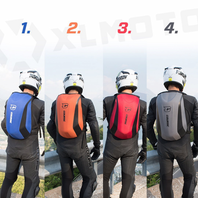 Which color do you choose? 😍 Blue, orange, red or grey?? Comment ⤵️⤵️ . . #slipstream #course #xlmoto #xlmotobackpack #coursebackpack #motorcyclebackpack #motolife #bikelife